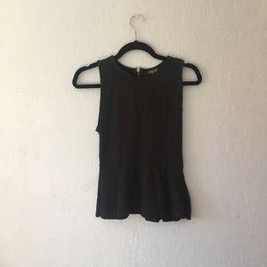 Topshop black sleeveless zip peplum top